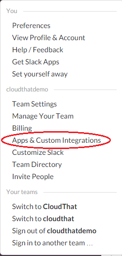 How to integrate AWS Lambda function with slack