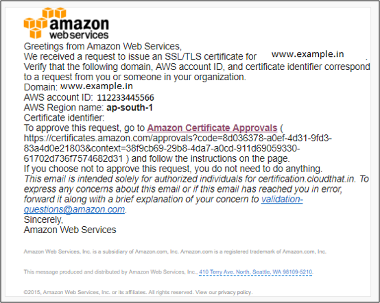 AWS Certificate Manager Email Validation