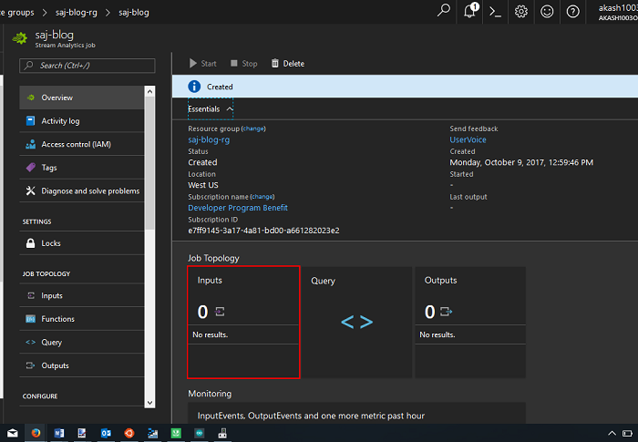 Azure Stream Analytics Input