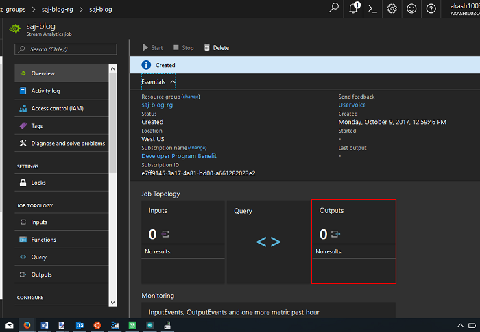 Azure Stream Analytics Output
