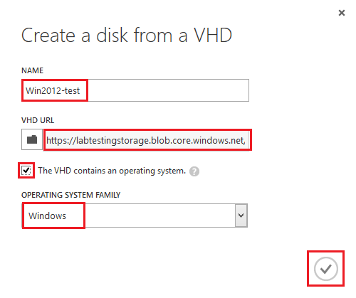 creating disk from VHD